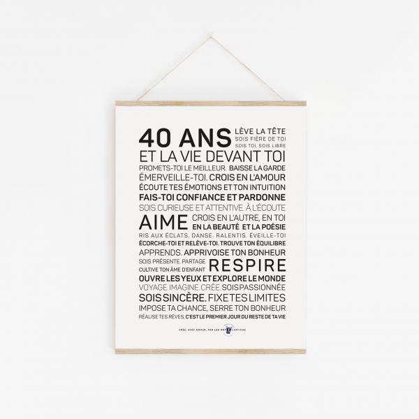 Affiche 40 ans inspirante