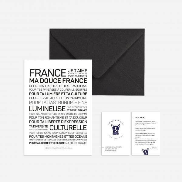 Carte postale avec un texte inspirant sur la France