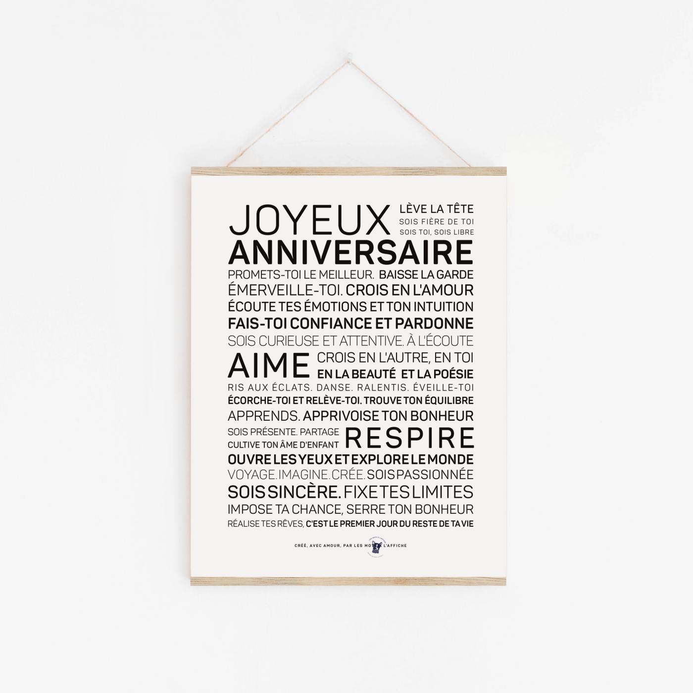 Affiche anniversaire avec texte inspirant