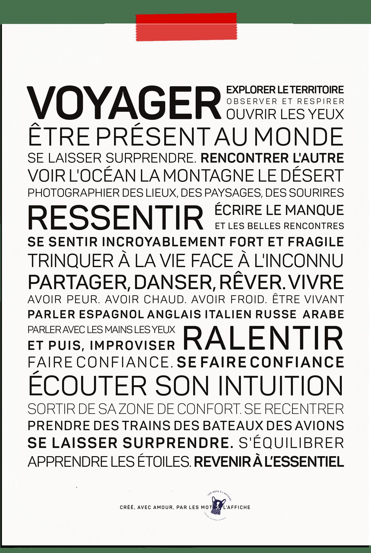 Carte postale texte sur le voyage